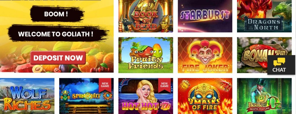 Goliath casino games