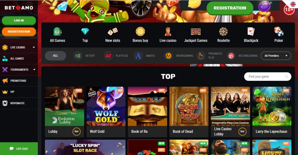 BetAmo Casino Layout