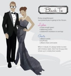 a drawing of man and woman dressed in black tie outfit