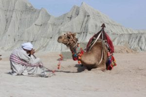 an arab man sitting in a desert in white clothes while his camel is right in front of him, with colorful rag on its back