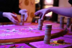 poker chips on a casino table